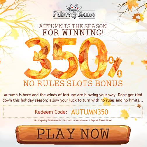 Palace of Chance Casino November 2015 Bonuses
