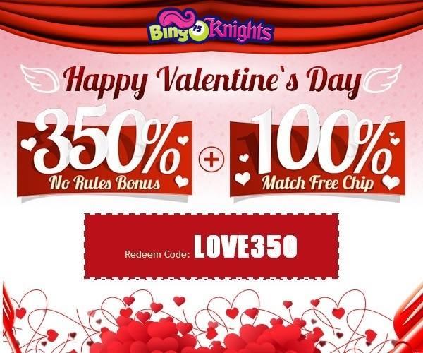 Valentines Day Bonuses Bingo Knights Casino
